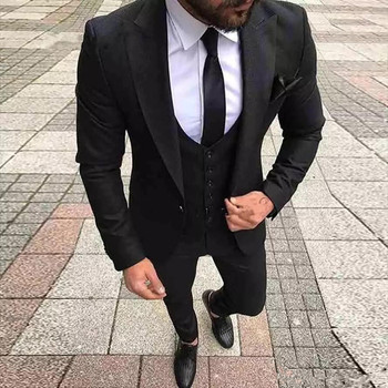 Black Wedding Suits Mens Formal Business Prom Suit Man Tuxedos Slim Fit Custom Made Groom Wedding Tuxedos (jacket+pant+vest)