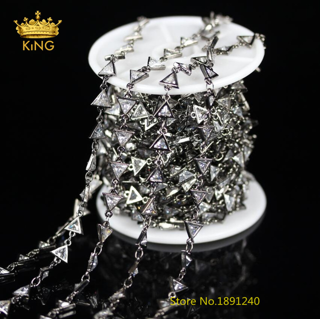 5 Meters Lot Sale,Gun Black Plated Triangle Shape Clear White ...