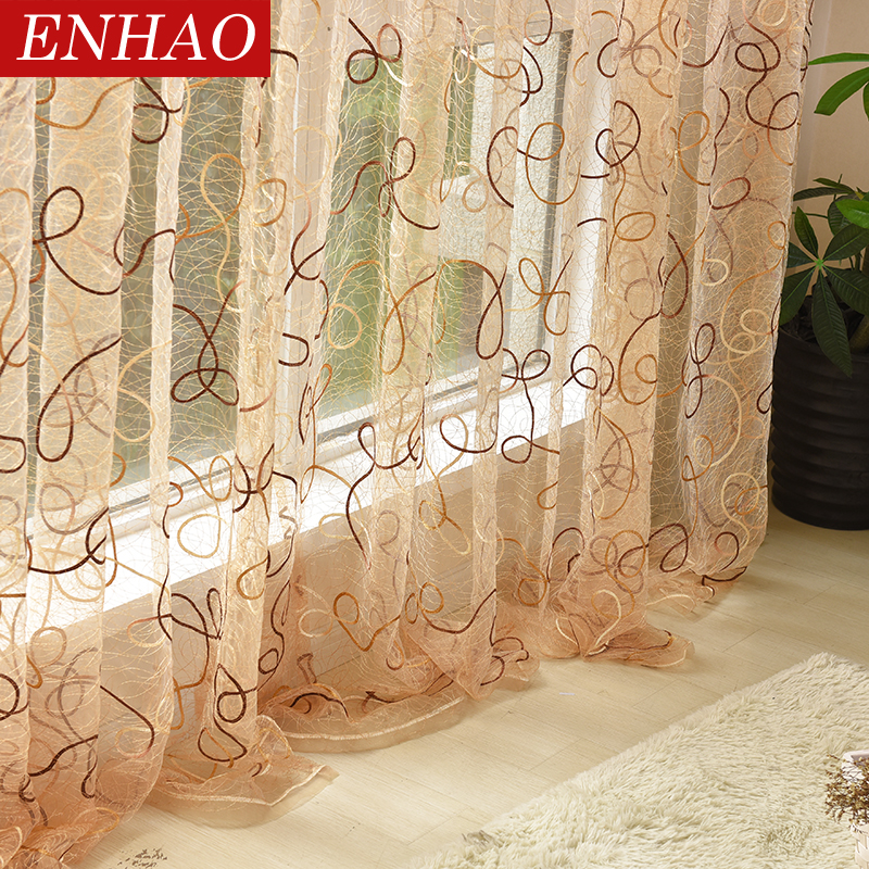 ENHAO Modern Embroidered Tulle Curtains For Living Room Bedroom Kitchen Sheer Curtains For Window Tulle Curtains Fabric Drapes