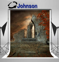 stone Gothic Ruins Red Leaves Dead Vines backdrop Vinyl cloth High quality Computer print Halloween photo studio background