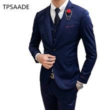 Модный мужской костюм из трех 1 предмет тонкий дизайн мужской пиджак, штаны и жилет Азии размеры s M L XL XXL XXXL мужские костюмы, блейзеры
