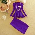 New arrived Autumn Women Fashion 2pcs Skirt Suits Ruffle Hem Slim Knitting Blouses Tops + Step SKirt Sets Women 2pcs Set