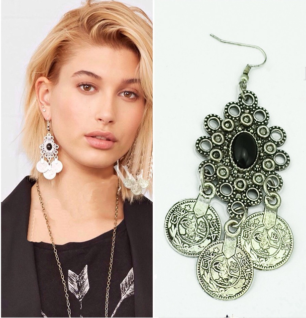 Vintage Silver Turkish Coin Earrings floral design Boho Gypsy Beachy Ethnic Tribal Festival Jewelry Turkish Bohemian Earrings 3