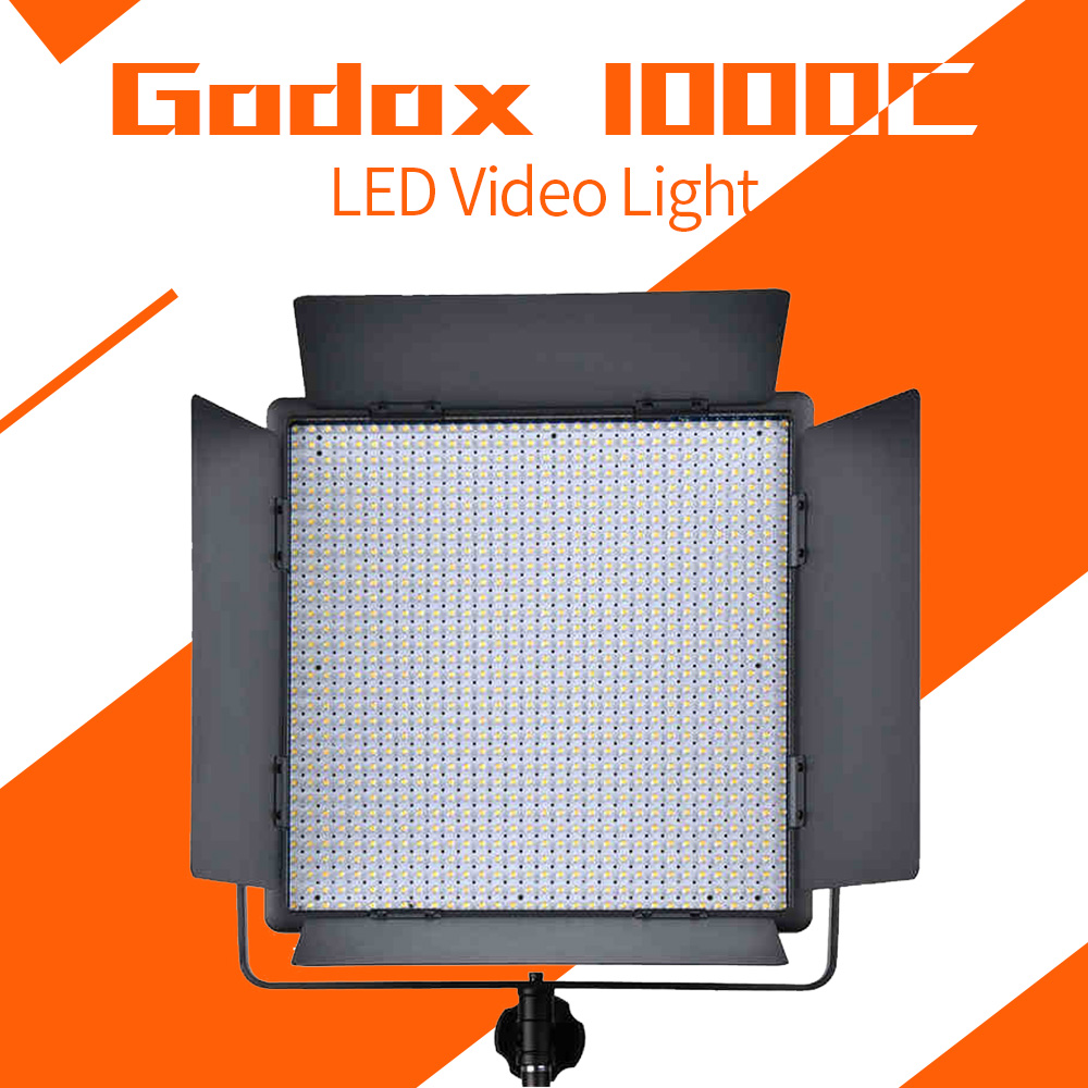 Godox 1000C LED Lamp Panel LED1000C 3300-5600K Bi-color Video Light Lighting+ Power Cable + Wireless Remote