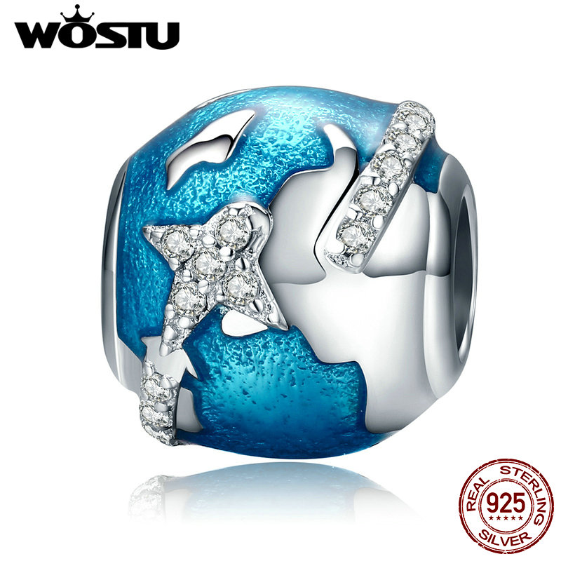 WOSTU 925 Sterling Silver I Love Travel & The World Beads Fit Original WST Charm Bracelet DIY Fine Jewelry Gift CQC183(China)
