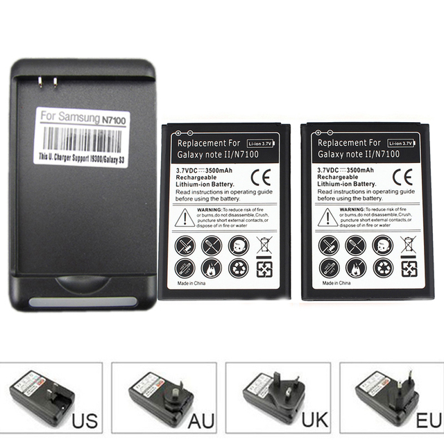 2x 3500mah Cell Phone Battery for Samsung Galaxy Note 2 II GT-N7100 N7100 with USB Wall Charger for Galaxy Note II N7100