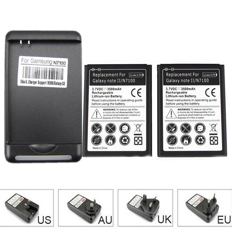 2×3500 мАч сотовый телефон Батарея для Samsung Galaxy Note 2 II GT-N7100 N7100 с USB WALL Зарядное устройство для galaxy Note II N7100