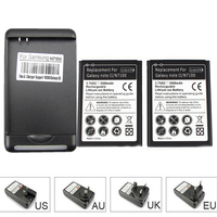 2x 3500mah Cell Phone Battery For Samsung Galaxy Note 2 II GT N7100 N7100 With USB