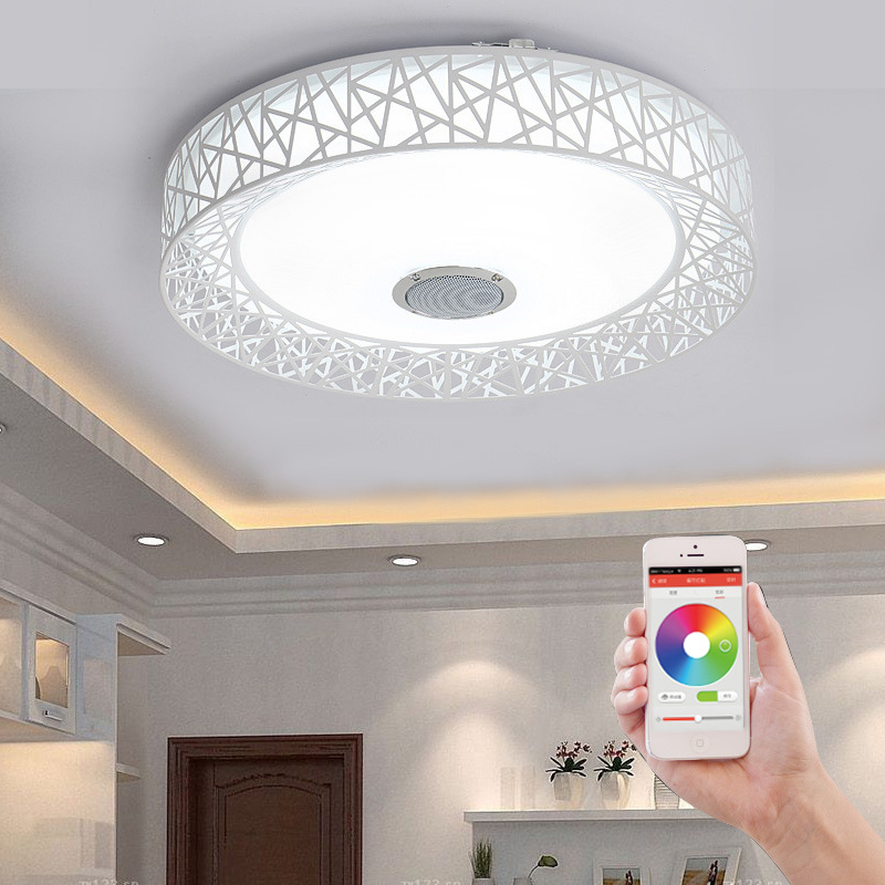 Smart Modern Bluetooth Music LED Ceiling Light Phone Control Dimmable RGB Color Changing  Ceiling Lamp For Kitchen Home Decor wf820 e27 smart phone led wi fi controlled sunrise wake up multicolored color changing disco light sleeping dimmable