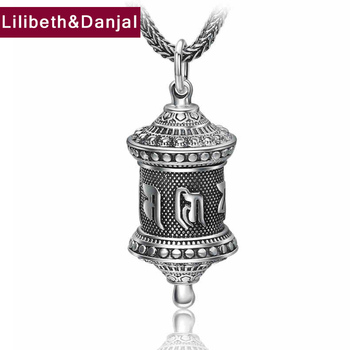 Gum box Pendant S990 Sterling silver Ethnic Buddhist Heart Sutra Necklace Pendant Christmas Gift Fine Jewelry F32