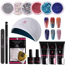 Get more info on the Makartt  16pcs Nail Extension Hybrid Gel Nail Starter Kit with  Beautiful Glitter Powders, Builder Gel, Nail Dryer Tool