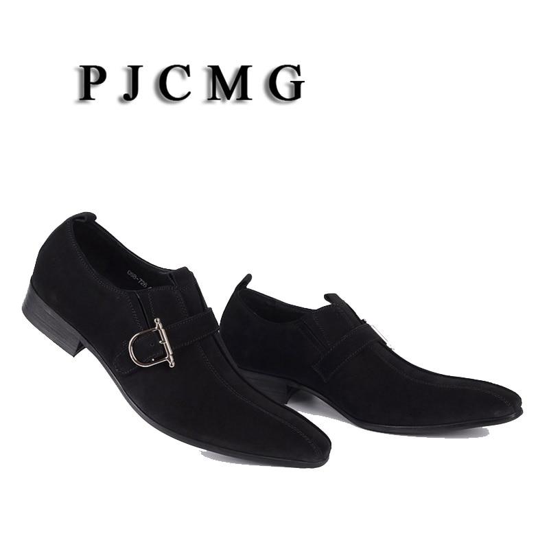 Robe En De Daim Affaires Mariage Casual Cuir brwon Véritable Noir Pjcmg Hommes Sangle Black Chaussures Bout brwon Mode Pointu Boucle ZqtwWc4ES