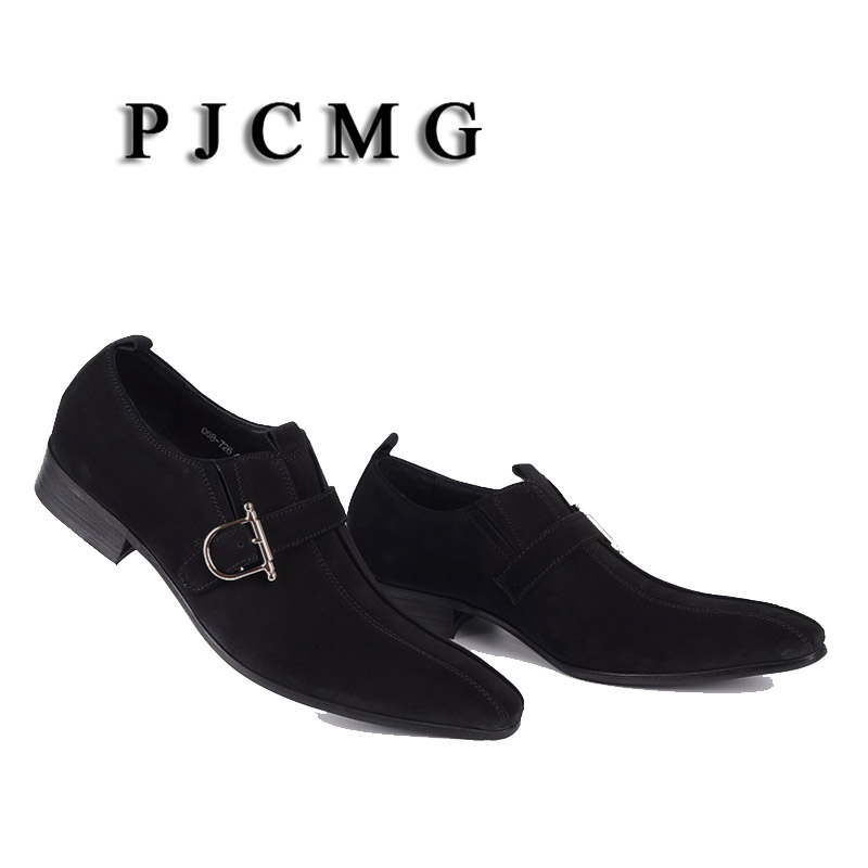 PJCMG/Модная Мужская обувь; замшевая обувь из натуральной кожи с пряжкой на ремешке с острым носком; цвет черный, Brwon; мужская повседневная Свадебная деловая обувь - 3