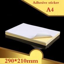 100แผ่น/Lotใหม่A4ขนาดเปล่าสีขาวGlossy & Mattสติกเกอร์ป้ายกระดาษพิมพ์กระดาษA4กาวสติกเกอร์พิมพ์กระดาษ
