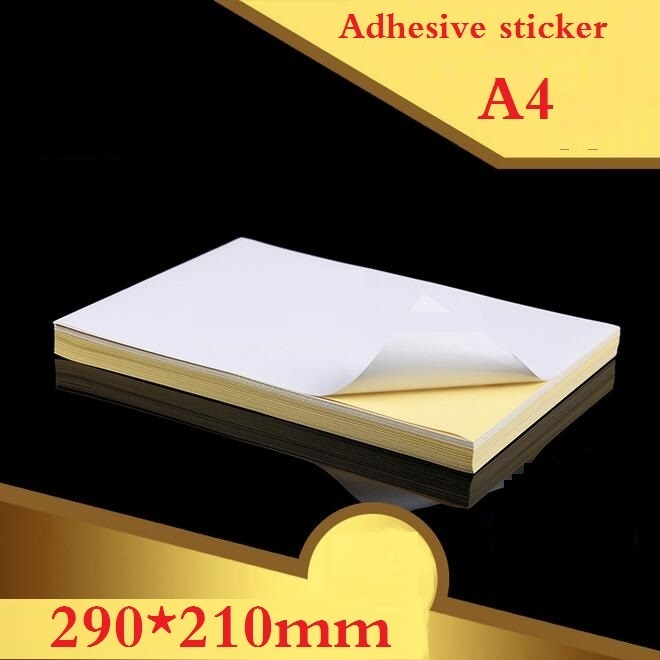 100sheets/lot  NEW A4 Size White Blank Glossy & Matt Sticker Paper Label Printing Paper A4 Adhesive Sticker Printing Paper