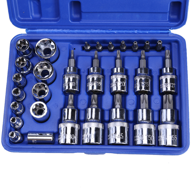 29Pcs 1/4 3/8 1/2 Torx Star Socket Bit Set of Tools Male Female E & T Sockets with Torx Bit Wrench Car Repair Tool