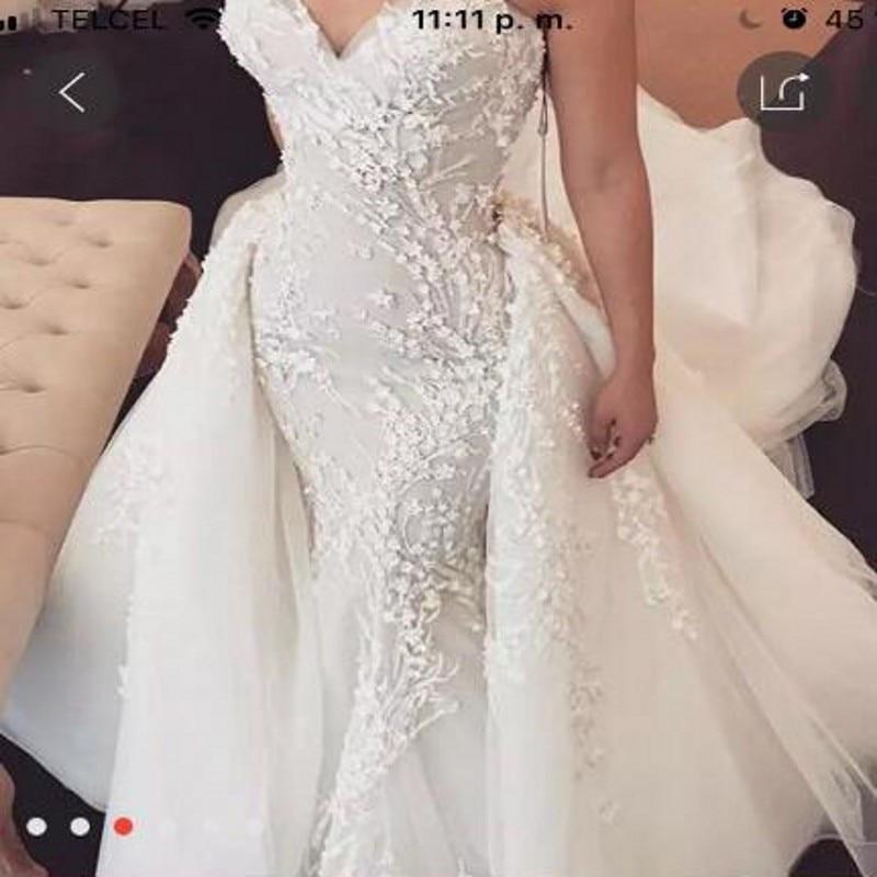 Gorgeous Wedding Dress with Detachable Train Bridal Gowns Vestidos Noiva Custom Made Off Shoulder Wedding Dresses Appliques Long
