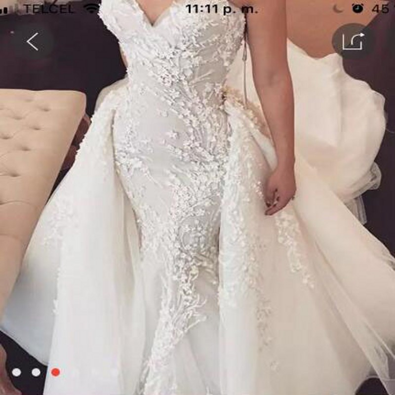 Gorgeous Wedding Dress With Detachable Train Bridal Gowns Vestidos Noiva Custom Made Off Shoulder Wedding Dresses Appliques Long