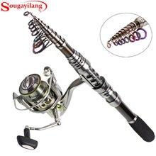 Sougayilang Spinning Fishing Rod Set 13+1BB Spinning Reel Telescopic Carbon Rod Carp Pesca Wheel Fishing Tackle Combo