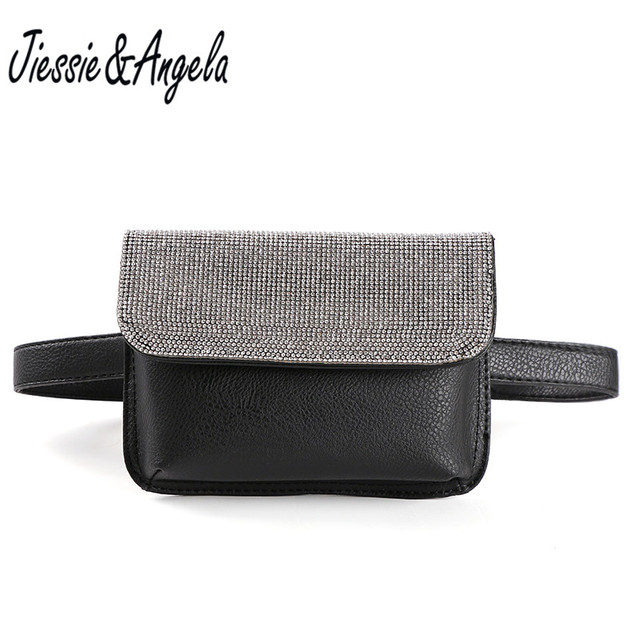Jiessie & Angela New Shinny Crystal Fanny Pack Long Belt Bags Women Waist Bags Fashion PU Leather Chest bag For IPhone Plus