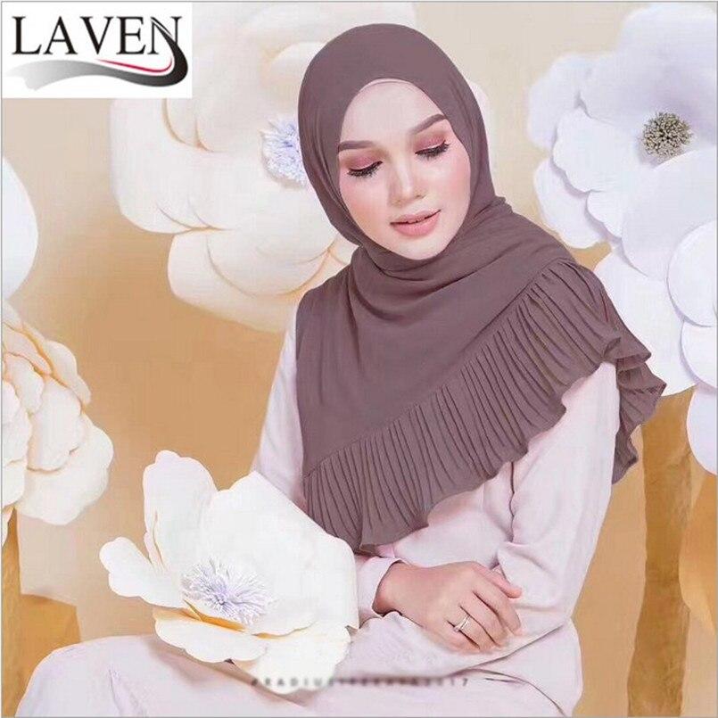 Mu1211 модные однотонные пузырь шифон леди длинный шарф с одной стороны drap высокого качества оптом Royal мусульманские женщины шарф Хиджабах