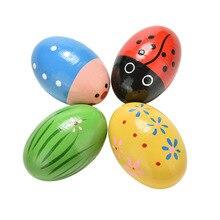 Детские деревянные красочные песочные яйца инструменты Ударные музыкальные игрушки цвета случайный