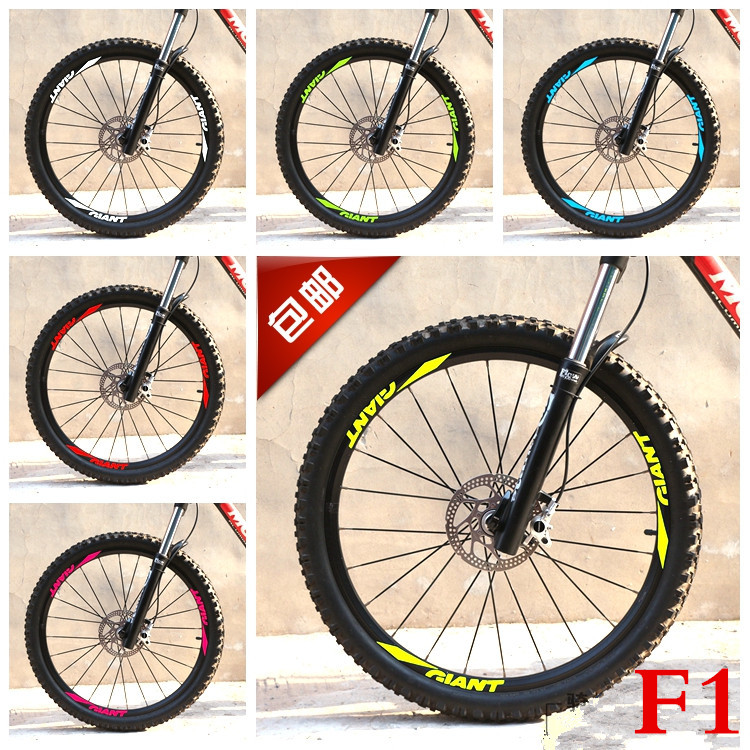 Wholesale 12 Pics/set Mountain Bike Bicycle 26 27.5 29 Rim Set Cycling Wheels Stickers Decals for MTB GIANT Stickers