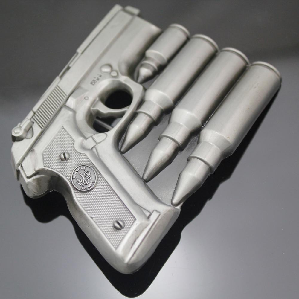 Hand Gun Bullets Men Silver Pistol Military Western Rodeo Texas Belt Buckle Exchange Jewelry Acessories