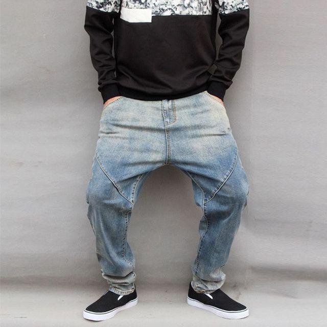 20de237c48bb6 Homme Hip hop Bas entrejambe denim pantalon Hommes baggy harem Jeans Hommes  Stretch Personnalité Conique pantalon