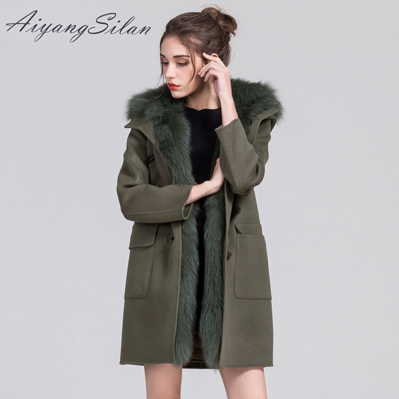 AiyangSilan Brand Jacket Real Fox Fur Collar Natural Fur Parka Warm Woolen Coat for Women Winter Hooded Long Ladies Pure Jackets aiyangsilan fox fur down liner detachable jacket long warm hooded ladies fur coats white real fox fur collar parka for women
