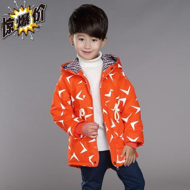 Ребенок осенью и зимой ватные куртки 2016 детская одежда утолщение траншеи с капюшоном верхней одежды средней длины outerwears