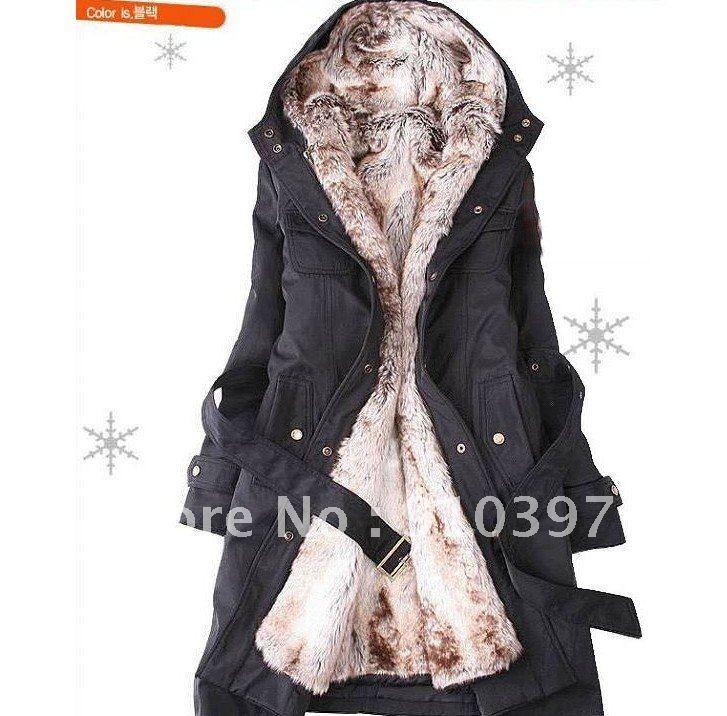 Самые дешевые женские меховые пальто/зимнее теплое длинное пальто