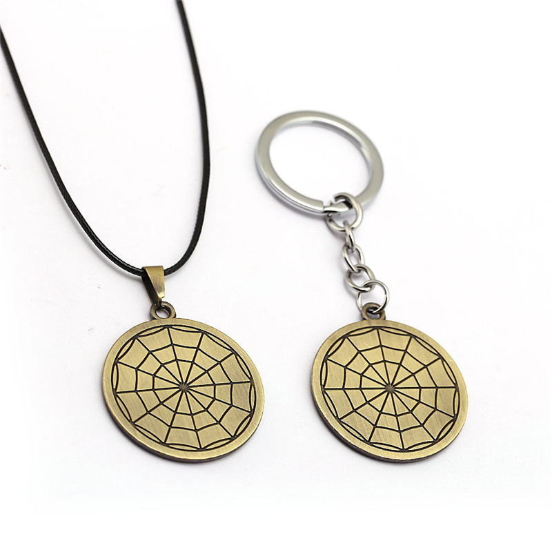 Anime Hunter x Hunter Keychain KURORO Spider Logo Key Ring Metal Pendant Collar Kolye llavevos Chaveiro Jewelry Men Gift HF12799