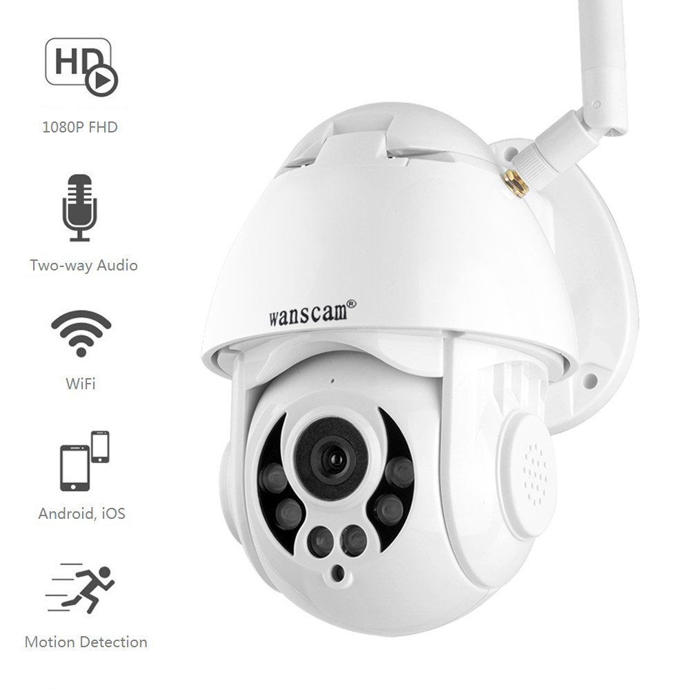 Wanscam 1080P WiFi IP Camera Motion Detect Auto Tracking PTZ 4X Zoom 2 way Audio P2P