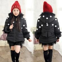 Детская одежда новые зимние зимние точки шерсть плюс хлопка воротник кружевной большой девочки куртка