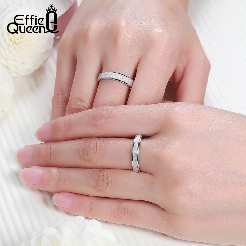 a96311037cda7 Effie Queen Hot Sale Never Fade Silver Color Wedding Ring Frosted Couple  Ring For Men and