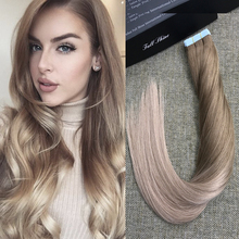Full Shine Seamless Double Sided Tape Hair Extensions Balayage Color #6 Fading to #18 100 Real Human Hair 50gram 20 Pcs Per Pack