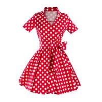 Kobiety Sukienka Moda W Stylu Vintage Tunika Dorywczo Lato Polka Dot Połowie Łydki Długie Huśtawka Sukienki Dla Pani Elegancka Odzież