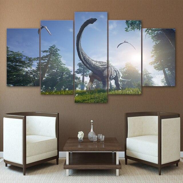 Modern Wall Art Canvas Prints Landscape 5 Panel Animal Dinosaur ...