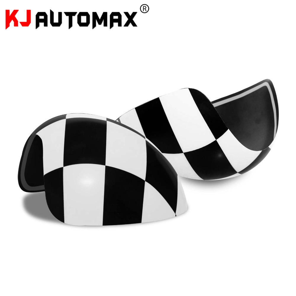 Car Styling For Mini Cooper Side Wing Mirror Cover Cap Accessories Checker MK1 R50 R52 R53 2000 07( for left hand drive only)