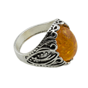 Винтажное кольцо для женщин и мужчин, Винтажное кольцо из сплава с овальным камнем и античным серебряным покрытием