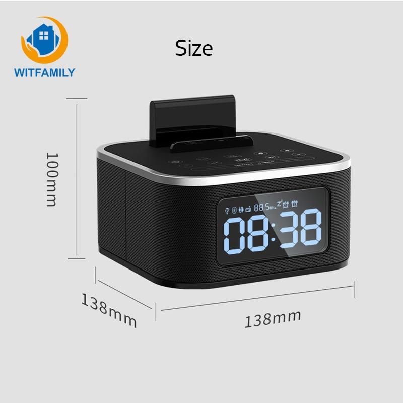 Metall Drahtlose Bluetooth Wecker Digital FM Radio LCD Subwoofer despertador Stimme Anrufe Moderne elektronische uhr tisch Home - 3