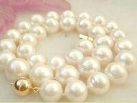 Бесплатная доставка AAA ЮЖНОГО МОРЯ 13 14 мм Белый Жемчужное ожерелье 18 отмечены оптовая продажа серебряные свадебные женские jewellery ()