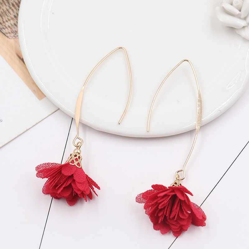 8SEASONS Fabric Flower Pendants Earrings Gold Color Fish Ear Hook Simple Trendy Bohemia Style Summer Jewelry for Women 1 Pair