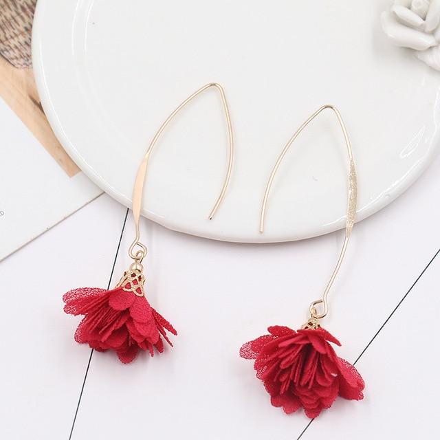 8SEASONS Fabric Flower Pendants Earrings Gold Color Fish Ear Hook Simple Trendy Bohemia Style Summer Jewelry for Women 1 Pair