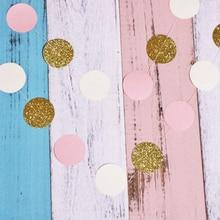1 шт Вечерние детские игрушки 24 шт 2 м блестящий круг в розовый белый Золотой горошек бумажная Праздничная Гирлянда для дня рождения игрушки для детей