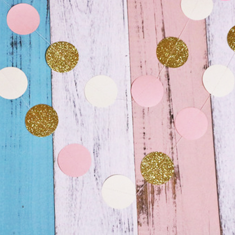 1pcs Party Hat Kids Toys 24 Pieces 2M Glitter Circle Polka Pink White Gold Dots Paper Birthday Party Garland Toys For Children