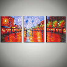Abstract modern 3 piece canvas wall Paulette painting oil painting on canvas knife handmade for living room pictures  decoration