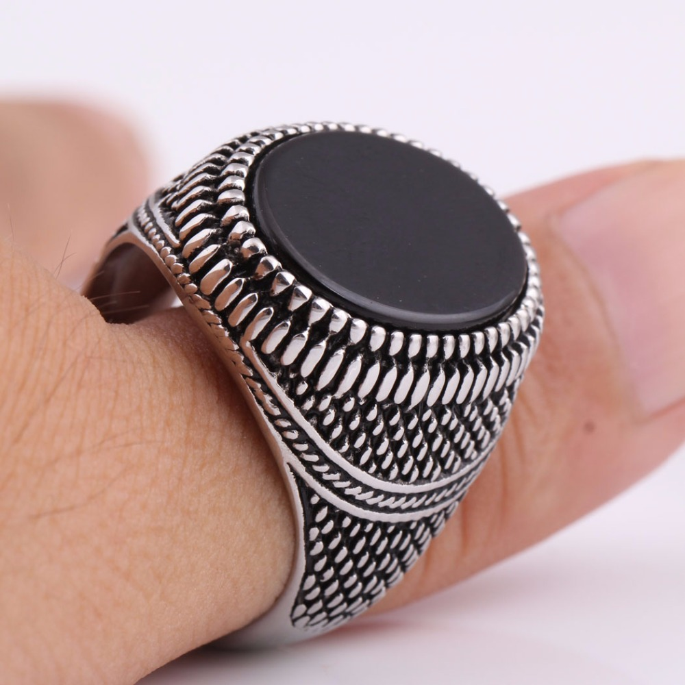 Fashion Super Hero Ring Men's Ring With Black Stone Ring 316L Stainless Steel Jewelry Vintage Silver Plated Ring 2
