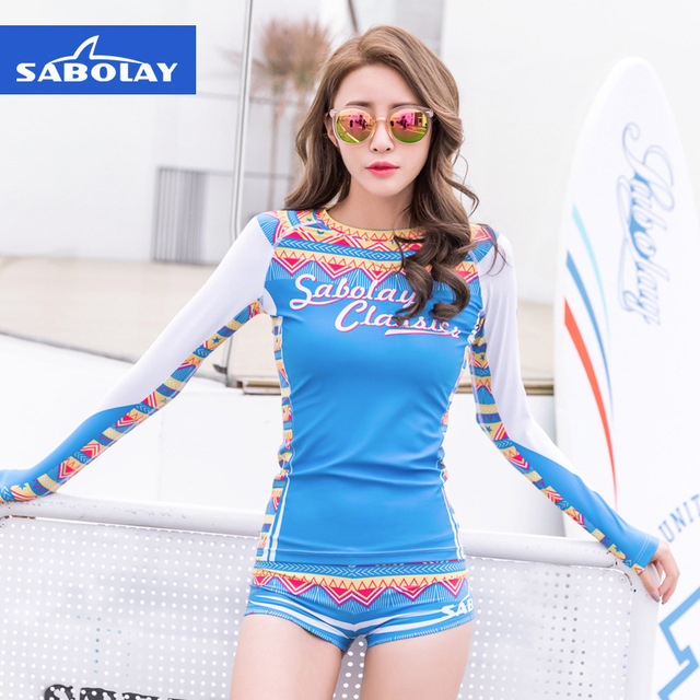 SABOLAY soft long sleeves high stretch beach clothes surfing clothes swimming Snorkeling shorts UV protection jellyfish suit